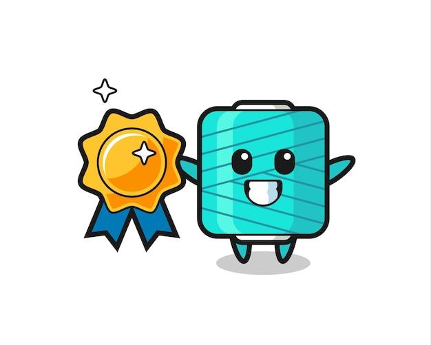 Yarn spool mascot illustration holding a golden badge , cute style design for t shirt, sticker, logo element
