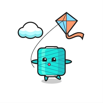 Yarn spool mascot illustration is playing kite , cute style design for t shirt, sticker, logo element