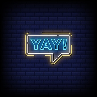 Yay, enjoy, win neon signs style text
