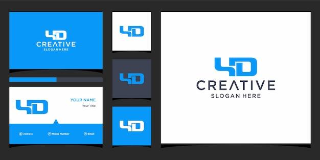 Дизайн логотипа yd с шаблоном визитной карточки