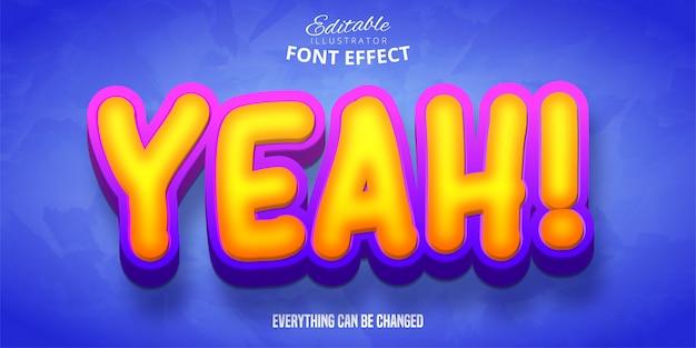 Yeah! text, 3d editable font effect