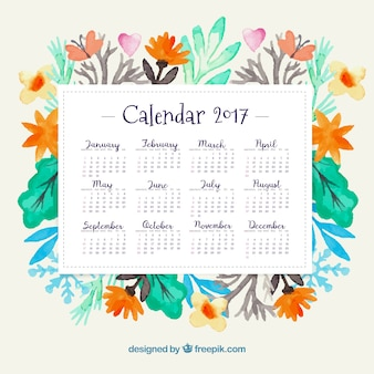 Year 2017 calendar with watercolor flowers