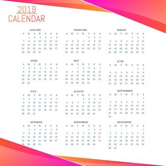 Год 2019, календарь красивый дизайн