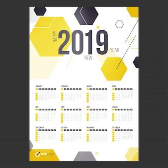 Year 2019, calendar design.