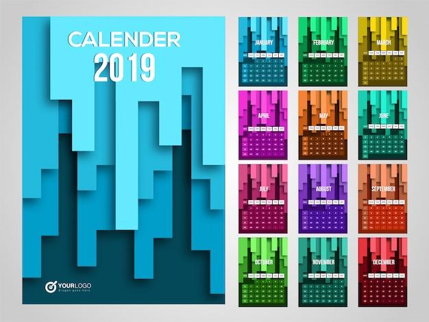 2019年のカレンダー。