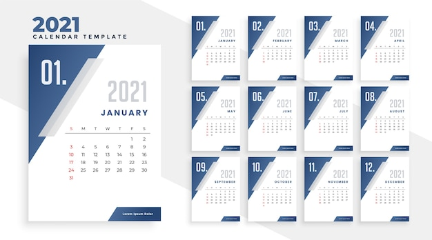 Year 2021 calendar design template in geometric style