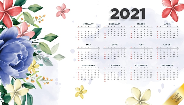 Year 2021 calendar layout floral template background with beautiful flower