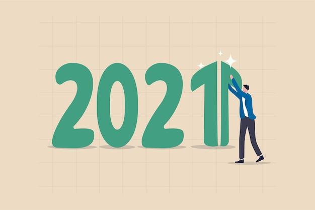 2021 год, концепция экономического восстановления, роста и положительного ввп или увеличения доходов от инвестиций