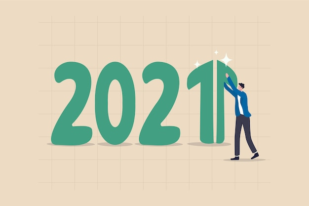 Year 2021 economic recovery, growth and positive gdp income or investment earning increasing concept