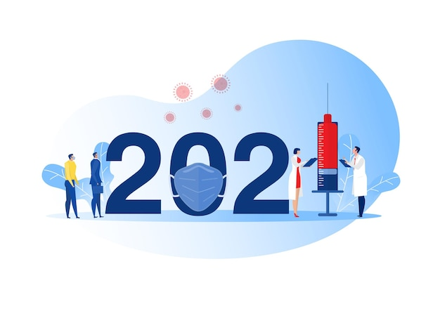 Year 2021 new normal after covid-19 pandemic doctor, syringe vaccination against coronavirus health, medicine