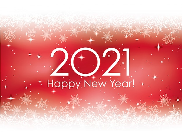 The year 2021 new years card red with snowflakes, illustration.