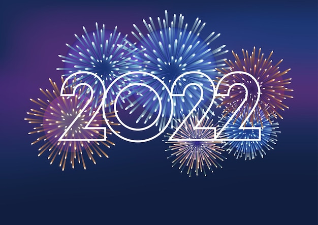 The year 2022 logo and fireworks with text space on a dark background celebrating the new year