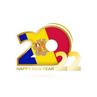안도라 국기 패턴이 있는 2022년. 새해 복 많이 받으세요 디자인.