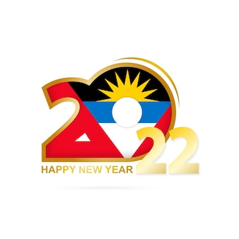 Year 2022 with antigua and barbuda flag pattern. happy new year design.