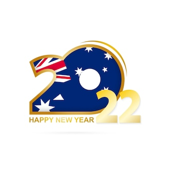 Year 2022 with australia flag pattern. happy new year design.