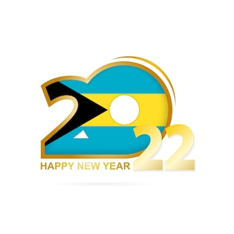 Year 2022 with the bahamas flag pattern. happy new year design.
