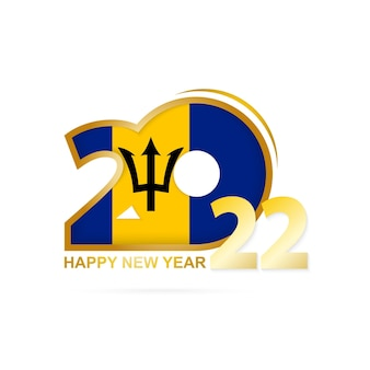 Year 2022 with barbados flag pattern. happy new year design.
