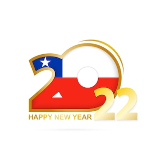 Year 2022 with chile flag pattern. happy new year design.