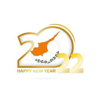 키프로스 국기 패턴이 있는 2022년. 새해 복 많이 받으세요 디자인.