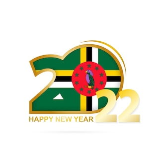 Year 2022 with dominica flag pattern. happy new year design.