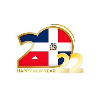 Year 2022 with dominican republic flag pattern. happy new year design.