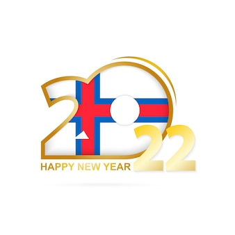 페로 제도 국기 패턴이 있는 2022년. 새해 복 많이 받으세요 디자인.