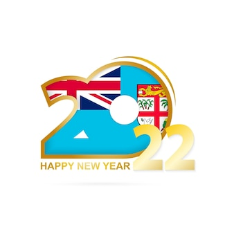 Year 2022 with fiji flag pattern. happy new year design.
