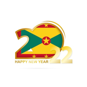 Year 2022 with grenada flag pattern. happy new year design.