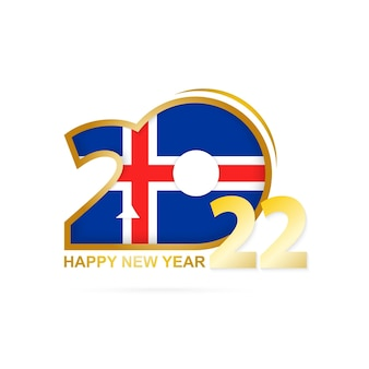 아이슬란드 국기 패턴이 있는 2022년. 새해 복 많이 받으세요 디자인.
