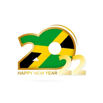 Year 2022 with jamaica flag pattern. happy new year design.