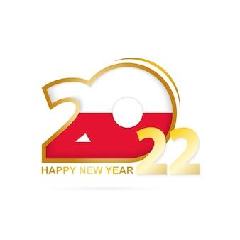 폴란드 국기 패턴으로 2022년입니다. 새해 복 많이 받으세요 디자인.