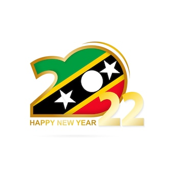 Year 2022 with saint kitts and nevis flag pattern. happy new year design.