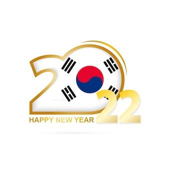 2022 год с рисунком флага южной кореи. с новым годом дизайн.