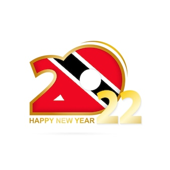 Year 2022 with trinidad and tobago flag pattern. happy new year design.