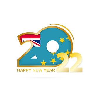 Year 2022 with tuvalu flag pattern. happy new year design.