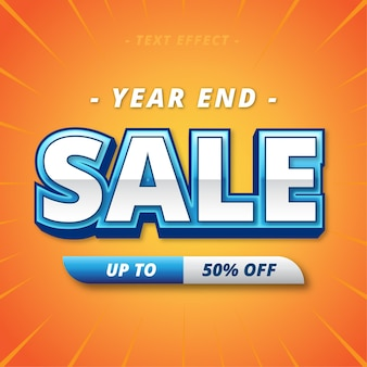 Year end sale banner text effect