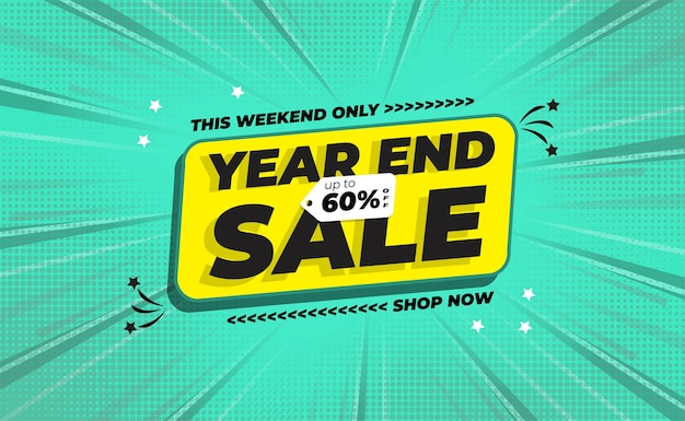 Year end sale banner with comic zoom background style