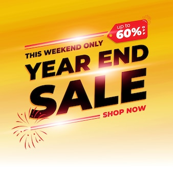 Year end shopping day sale banner background with orange colour