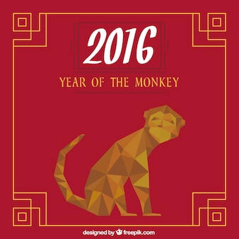 Year of the monkey in a low poly style