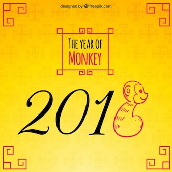 The year of monkey on a yellow background