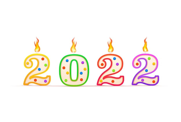 Year number shaped birthday candle with fire isolated on white