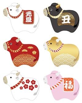 日本の伝統的なパターンで飾られた牛マスコットイラストセットの年。テキスト翻訳:「新年」、「牛」、「フォーチュン」