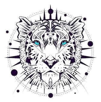 Год водного тигра 2022 головное животное символ орнамента. векторные иллюстрации, изолированные на белом фоне