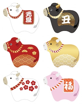 """Year of the ox mascot illustration set decorated with japanese traditional patterns. text translation: """"new year', """"ox"""", """"fortune"""""""