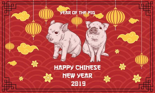 Year of the pig, happy chinese new year 2019