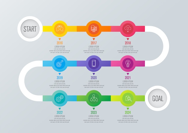 Year planner timeline infographic elements