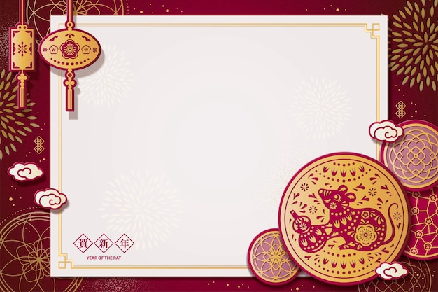 Year of the rat paper cut design with mouse holding bottle gourd on floral copy space background