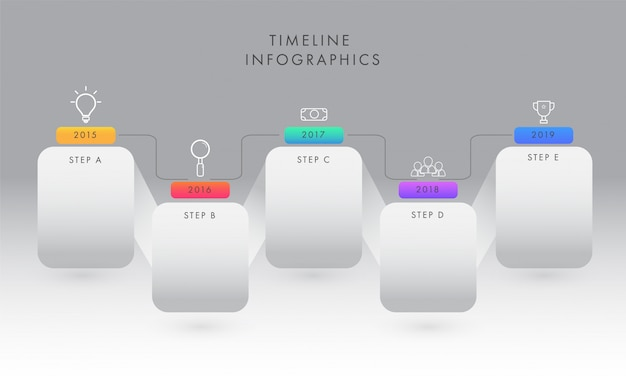 Year timeline infographic elements with five steps for business