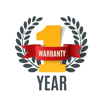 Year warranty with red ribbon