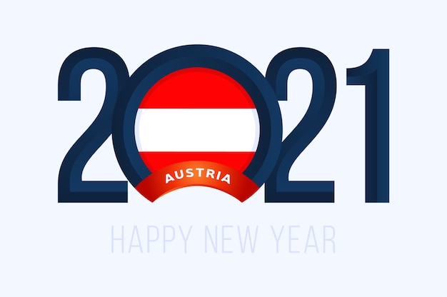 Year with austria flag isolated on white